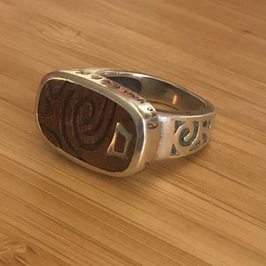 Silpade silver and wood ring